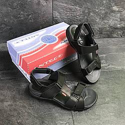 Черные мужские сандалии Антек кожаные летние Украина Antec Black