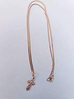 Золотая цепочка зона плетения с крестиком (Комплект)