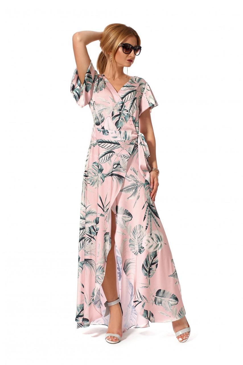 Длинное платье на запах 1162.2 цвет розовый