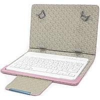 """ϞЗащитный чехол Lesko 7"""" Pink с беспроводной клавиатурой с блютуз для удобства чтения набора текста"""