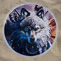 Круглое пляжное покрывало полотенце с бахромой Волк