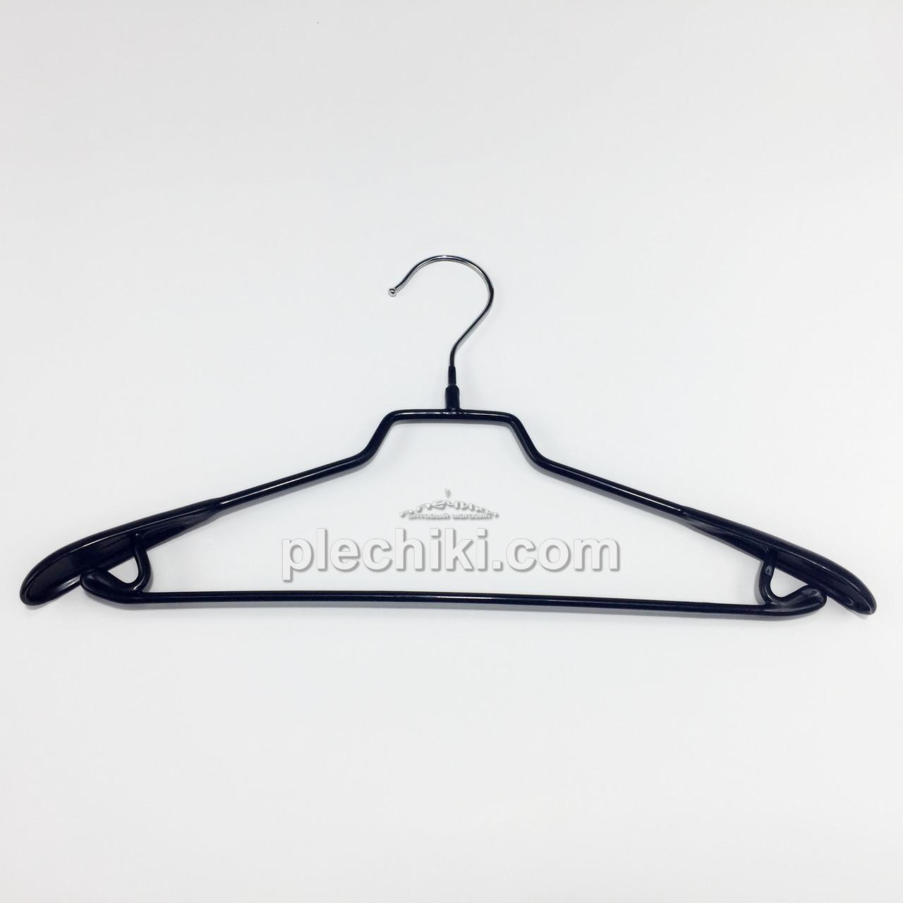 Металлические плечики вешалки тремпеля в силиконовом покрытии широкие черного цвета, длина 420 мм