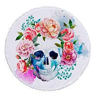Круглое пляжное покрывало полотенце с бахромой Скелет с цветами