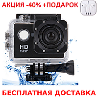 Экшн камера Sports Cam FullHD 1080p 2' экран Waterproof 30m + наушники iPhone 3.5, фото 1