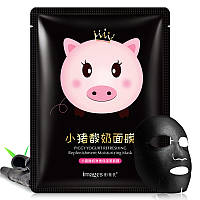 Маска-салфетка для лица йогуртовая IMAGES Piggy Yogurt Refreshing Replenishment Moisturizing Mask Black (25г)