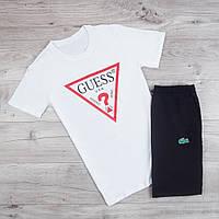 Продается ТОЛЬКО футболка мужская Guess повседневная летняя качественная белая, ТОП-реплика