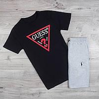 Футболка мужская Guess из хлопка на лето из качественного материала (черная), ТОП-реплика