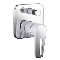 Змішувач для ванни і душу прихованого монтажу Imprese Breclav VR-10245WZ Хром/білий, фото 1