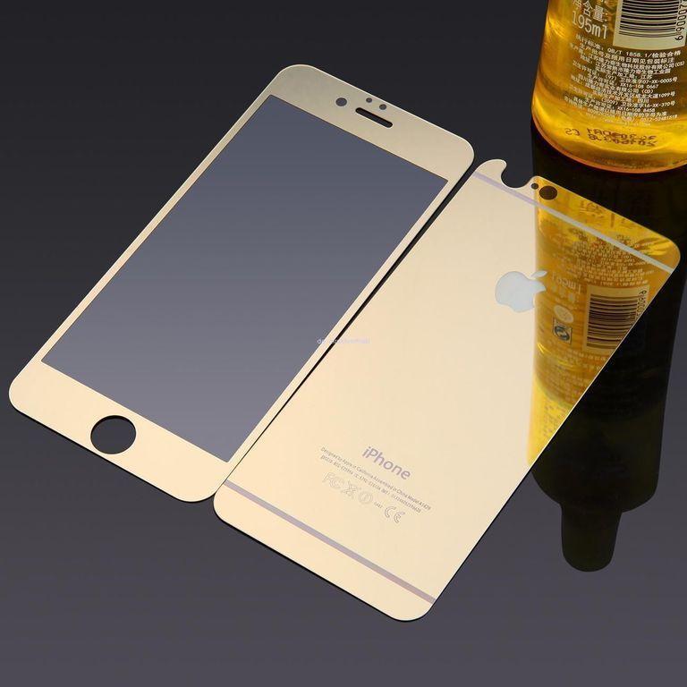 Защитное стекло 2 в 1 для Iphone 6/6s Plus, gold