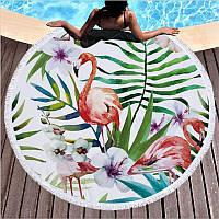Круглое пляжное покрывало полотенце с бахромой Фламинго