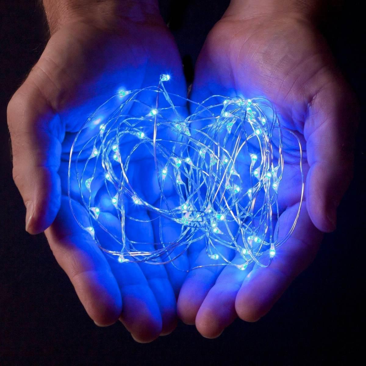 Светодиодная гирлянда нить 10м 100led на батарейках голубая Blue