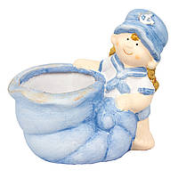 Садовая декорация - кашпо девочка, 13*13,5*9 см, голубой, керамика (820238-1)