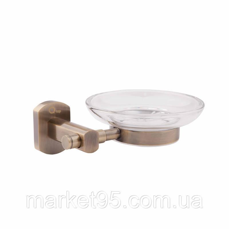 Мыльница латунная настенная стекло бронза