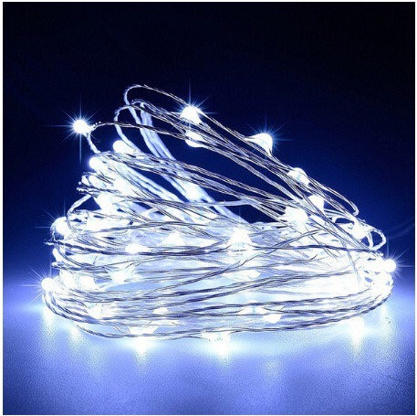 Гирлянда светодиодная нить 5 м 50 led (белая) White на батарейках #12