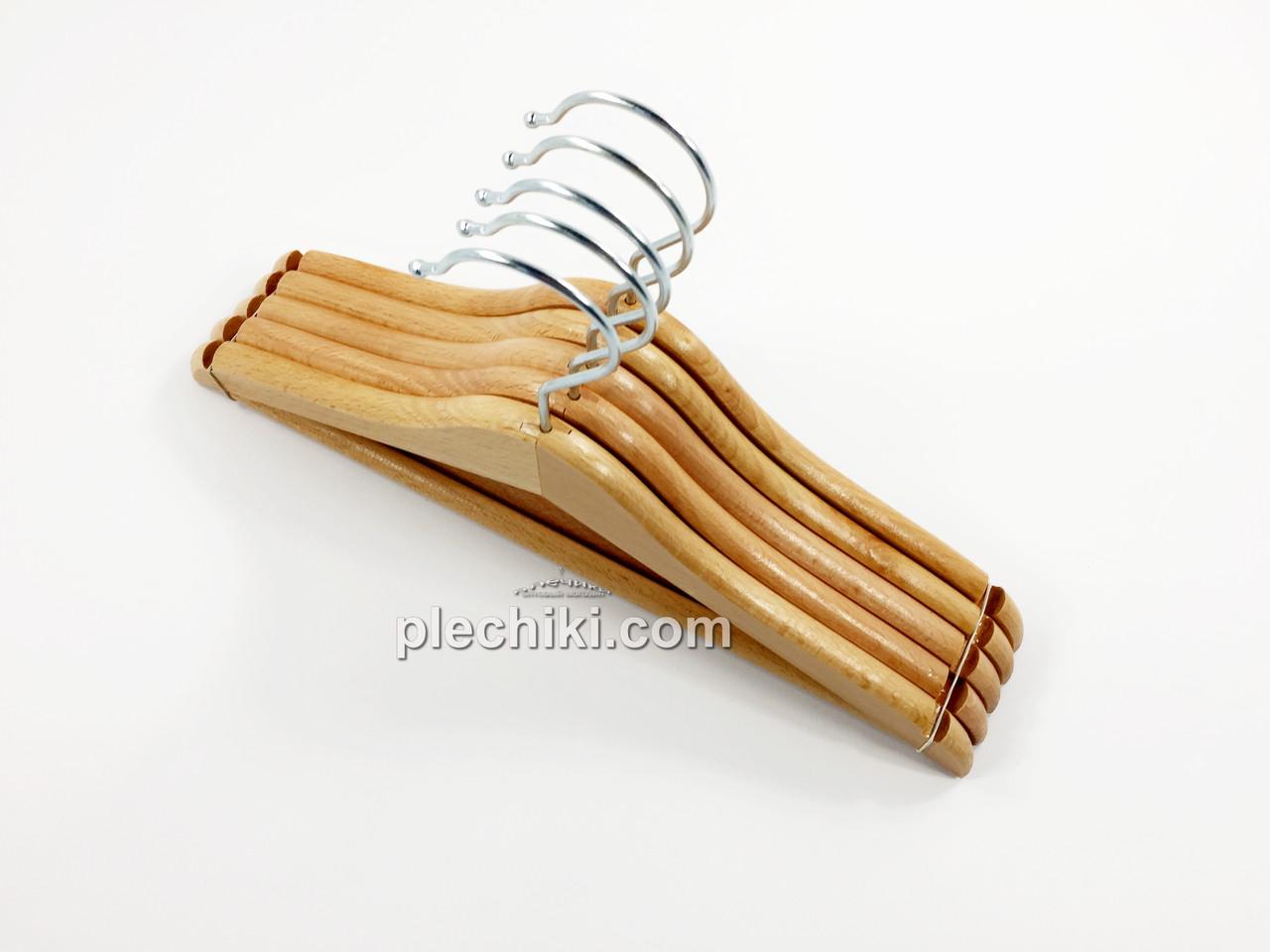 Вешалки детские деревянные лакированные (бук) с перекладиной 5 штук, длина 320 мм