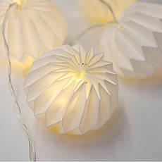 """LED гирлянда """"бумажные фонарики"""" 2м 10 шариков на батарейках #20, фото 3"""