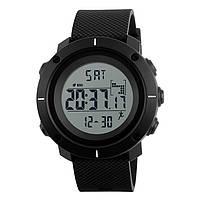 Skmei 1215  черные мужские спортивные часы с шагомером