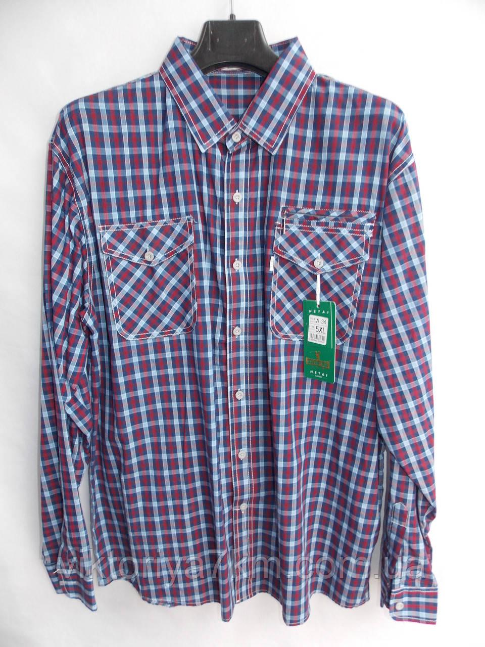 """Рубашка мужская в клетку (XL-5XL) """"Hetai"""" LZ-1402"""