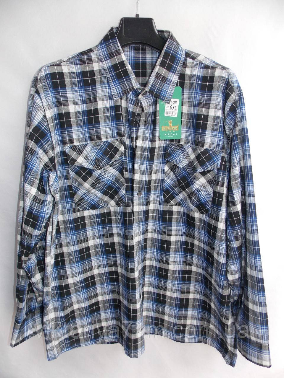 """Рубашка мужская в клетку (6XL-10XL) """"Hetai"""" LZ-1402"""
