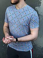 Футболка мужская с кейками серая | Мужская футболка хлопковая повседневная ТОП качества