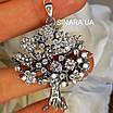 Изумительное Дерево Жизни с фианитами серебряный кулон - Подвеска Семейное Дерево серебро, фото 6