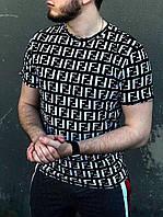 Футболка мужская приталенная черная FF | Мужская футболка хлопковая повседневная ТОП качества