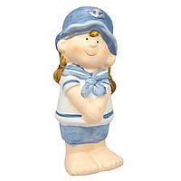 Садовая декорация - девочка, 11,5*5*5,4 см, голубой, керамика (820221-1)