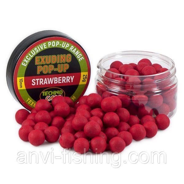 "Бойлы Технокарп Pop-Up Exuding ""Strawberry"" (клубника) 25грамм"