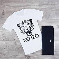 Мужская футболка Kenzo качественная с принтом льва из хлопка (белая), ТОП-реплика