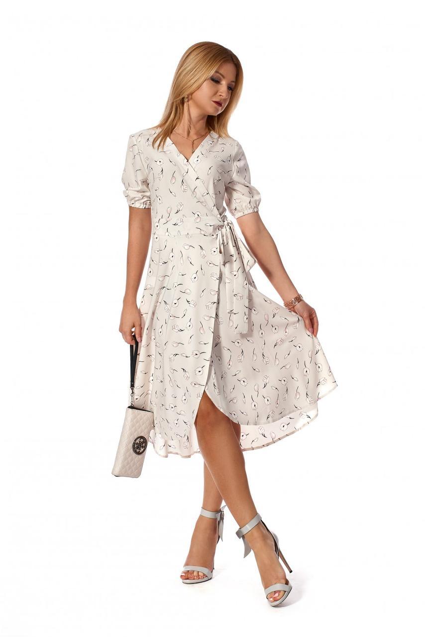 Легкое платье на запах 1160.1 цвет бежевый