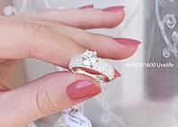 Шикарне срібне кільце з розсипом каміння, фото 1
