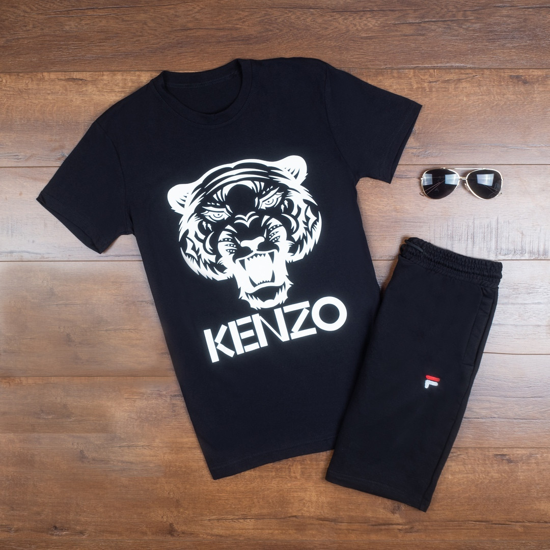 Летняя мужская футболка Kenzo  с принтом льва хлопковая в черном цвете, ТОП-реплика