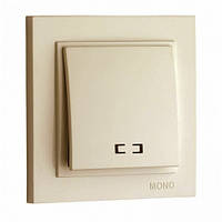 Выключатель внутренний 1 клавишный с подсветкой  Despina (Mono Electric), цвет Крем
