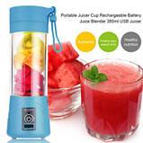 Блендер соковижималка міні Smart Juice Cup Fruits 380 мл Mini USB (Рожевий), фото 4