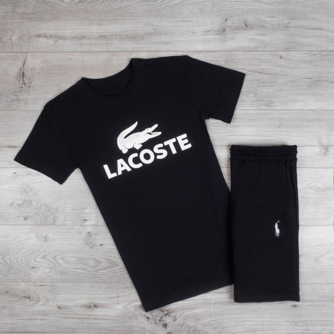 Мужская футболка Lacoste хлопковая повседневная c надписью лакоста (черная), ТОП-реплика