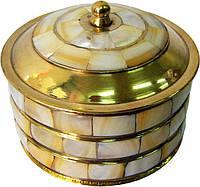 Шкатулка бронзовая с перламутром (d-7,h-7 см)