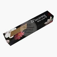 Упаковка для макаронс с прозрачным окошком - Цветы на чёрном фоне - 300х60х50 мм