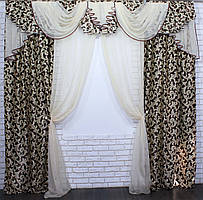 Комплект ламбрекен со шторами на карниз 3м. Код 134лш044(А), цвет коричневый с бежевым