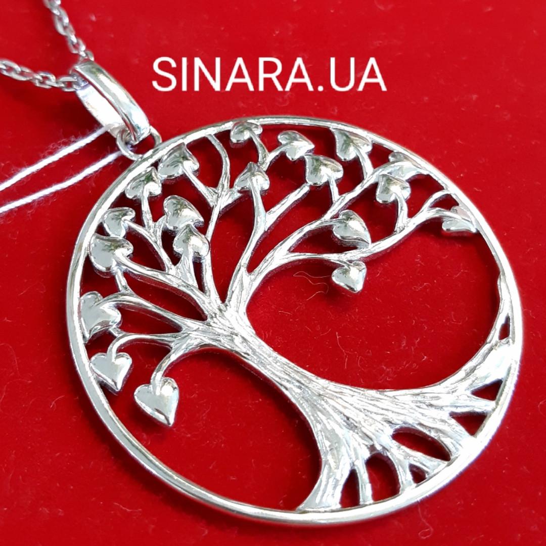 Дерево Любви кулон серебряный - Массивный кулон Семейное Дерево - Подвеска Древо Жизни и Любви серебро