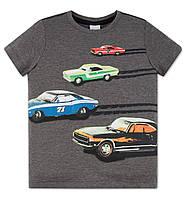 Серая футболка для мальчика с машинами C&A Германия Размер 134