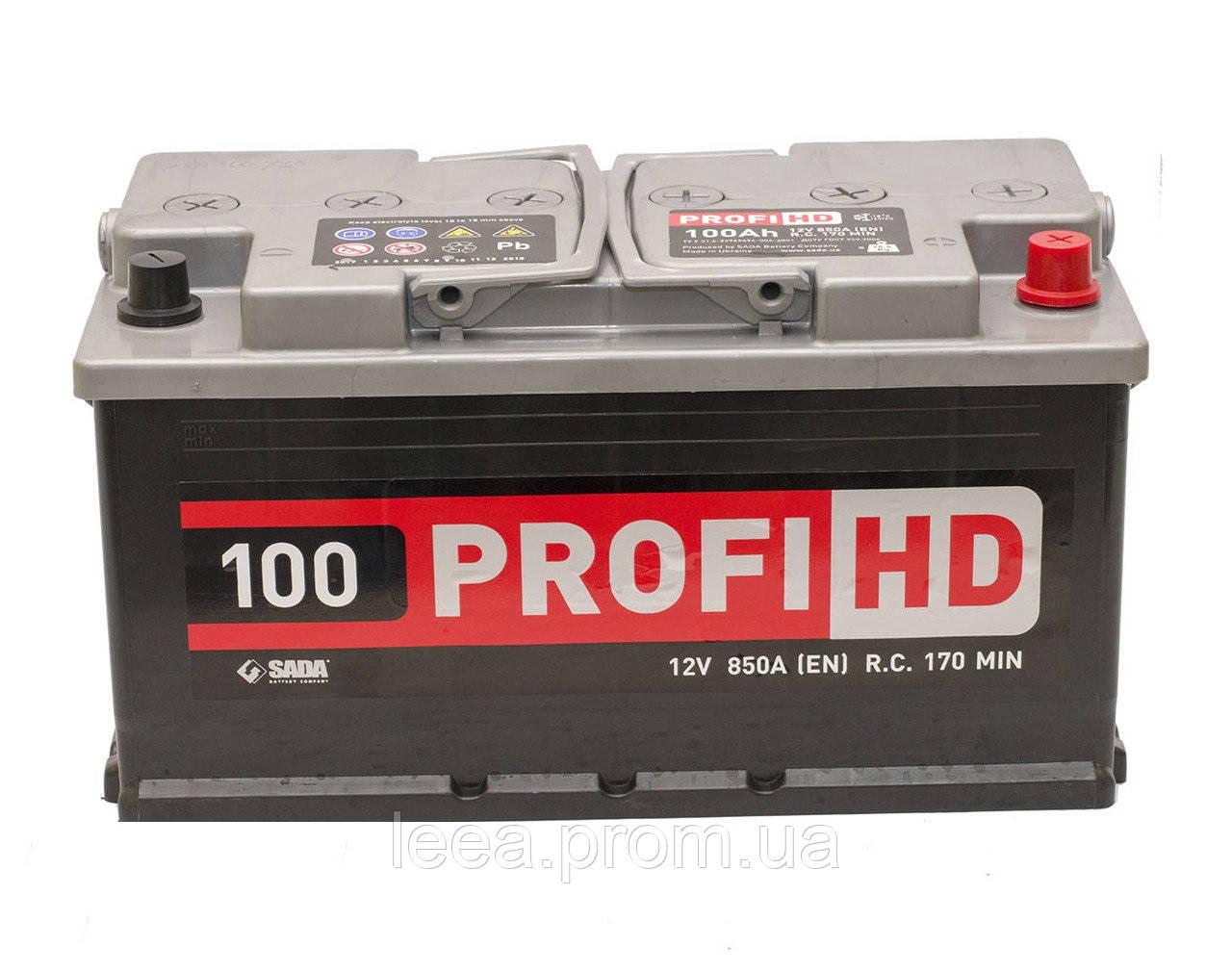 """Аккумулятор SADA 6СТ-100 (12В 100АЧ 850А ) АзЕ Profi HD, 0 """"+"""" справа"""
