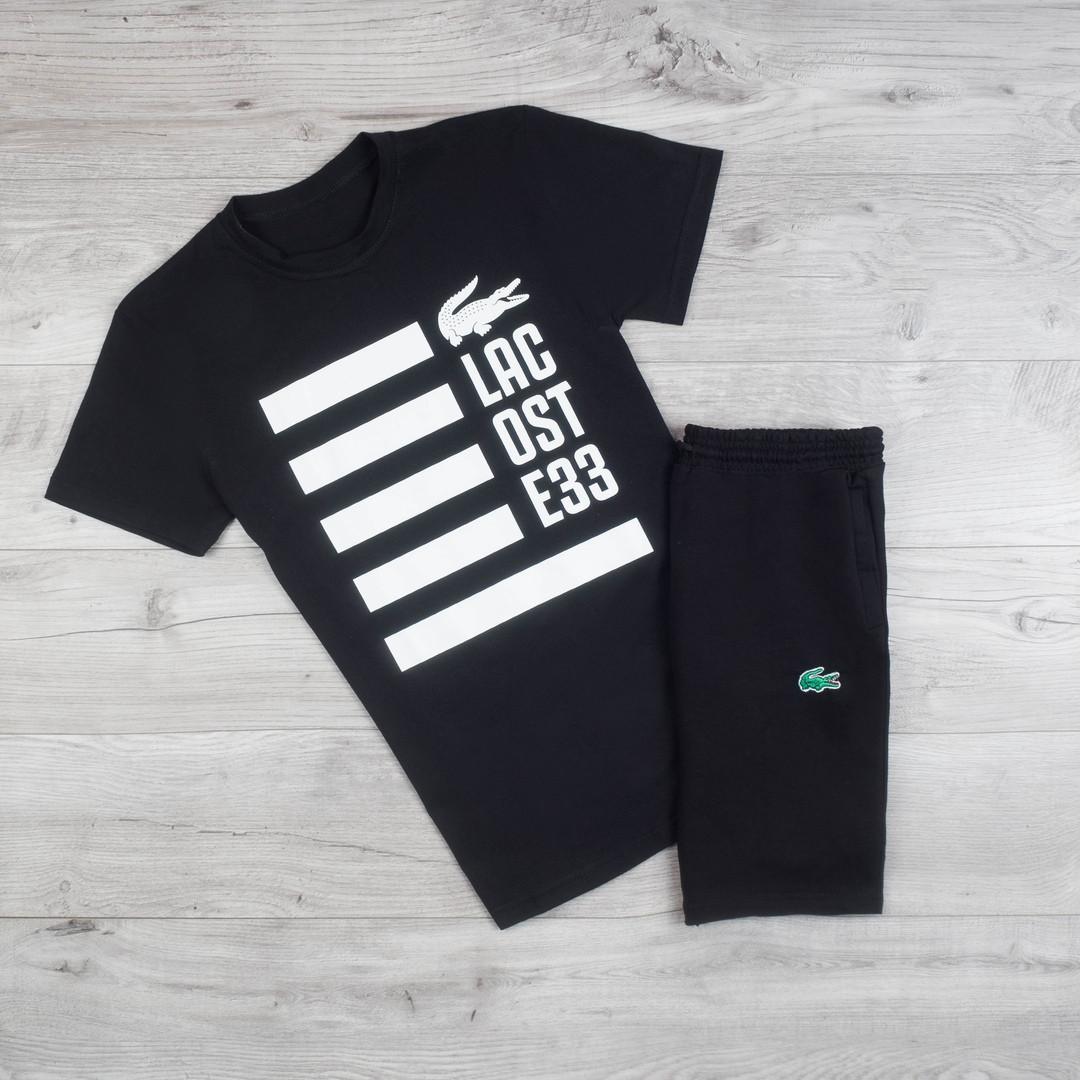 Продается ТОЛЬКО футболка мужская Lacoste из качественного хлопка с короткими рукавами черная, ТОП-реплика