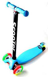 Детский самокат MAXI. Blue. Разноцветные колеса.