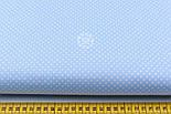 """Лоскут ткани """"Пунктирный горошек"""" белый на голубом №1928а, размер 38*78см, фото 2"""