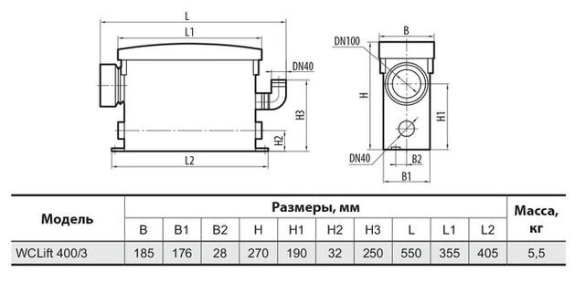 Канализационная установка Sprut WCLIFT 400/3