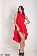 Легкое асимметричное платье  свободного кроя Feder XS, Red