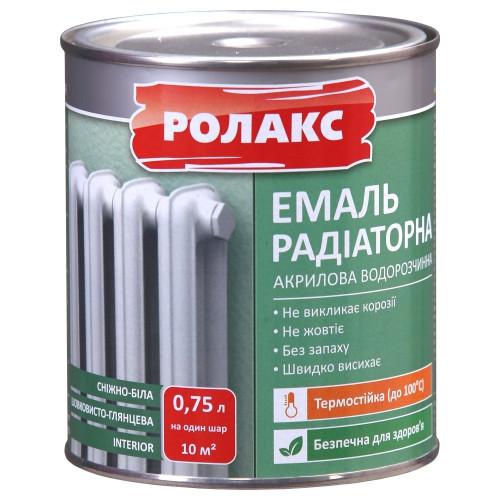 Эмаль акриловая 0,75л радиаторная Премиум белая Ролакс