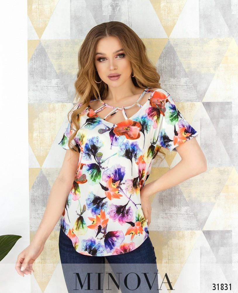 Цветочная блузка яркая 42-50 (в расцветках)