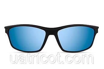 Мужские солнцезащитные очки маска в черной матовой оправе с синими зеркальными линзами