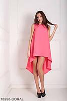 Легкое асимметричное платье  свободного кроя Feder L, Coral